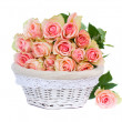 Bouquet of pink  roses in basket — Stock Photo