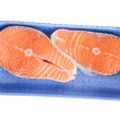 Salmon steaks in tray — Stock Photo #12581515