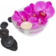 Zen stones and orchids with candle — Stockfoto #12610093