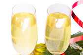 Two glasses of new year champagne — Stock Photo