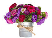 Bouquet of aster flowers in vase — Stock Photo
