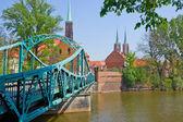 Bridge to island Tumski, Wroclaw, Poland — Stock Photo
