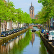 Canals and old cathedral of Delft, Holland — Stock Photo