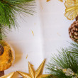 Chrismas decorations and paper page — Stock Photo