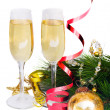 Two glasses of new year champagne - Zdjęcie stockowe