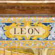 Leon sign over a mosaic wall — Stock Photo