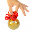 Hand holding christmas ball — 图库照片