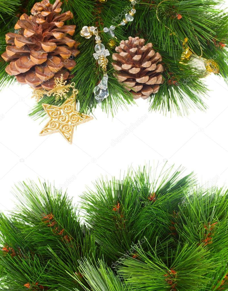 Chrismas decorations and pine cones isolated on white with copy space — Stock Photo #13658511