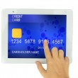 Credit card in PC tablet — Stock Photo