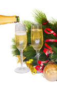 Pouring new year champagne — Stockfoto