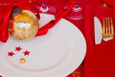 Table served for christmas party — Stock Photo