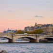 Stock Photo: Sunset over Seine embankment, Paris, France