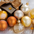Royalty-Free Stock Photo: Christmas decorations and present box