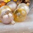 Royalty-Free Stock Photo: Christmas balls and present box
