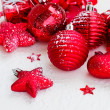 Red new years balls and stars — Stock Photo #14859281