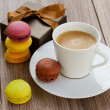 Cup of coffee with macaroons — Stock Photo