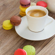 Stock Photo: Macaroons and coffee