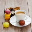 Coffee with macaroons — Stock Photo