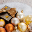 Stock Photo: Christmas decorations and gift box