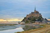 Mont Saint Michel at sunset , France — Stock Photo
