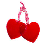 Dvě skleněné srdce — Stock fotografie