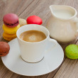 Stock Photo: Macaroons and coffee cup