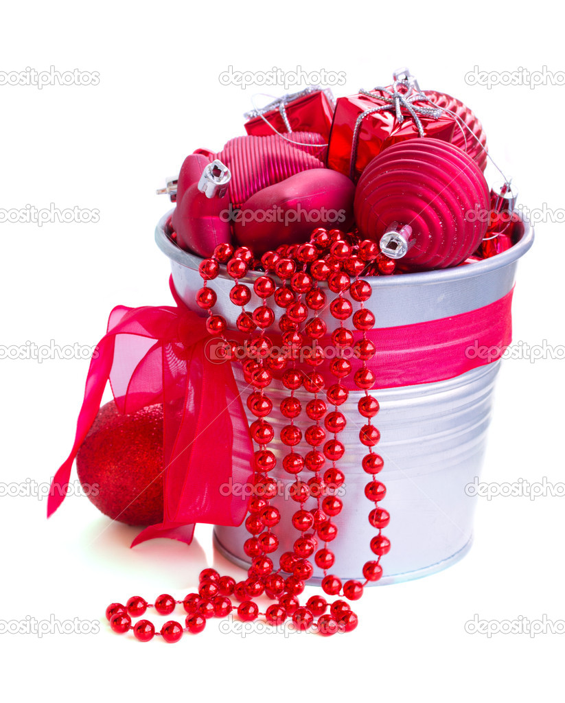 Red christmas decorations in pot isolated on white background — Stock Photo #15726045
