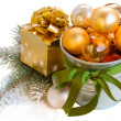 Christmas decorations with gift box — Stock Photo #15732393