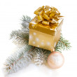 Golden gift box with fir tree — Stock Photo