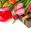 Tulips with gift box — Stock Photo #16217105