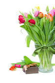 Fresh tulips with present — Stock Photo