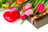 Tulips with gift box — Stock Photo