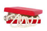 Pearl jewelery in box — Stock Photo