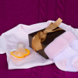 Baby clothes with gift box — Stock Photo #16290027