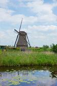 Dutch windmill in Kinderdijk — Stock Photo