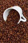 Beker met ruwe koffiebonen — Stockfoto