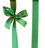 Green ribbon with bow — Stock Photo