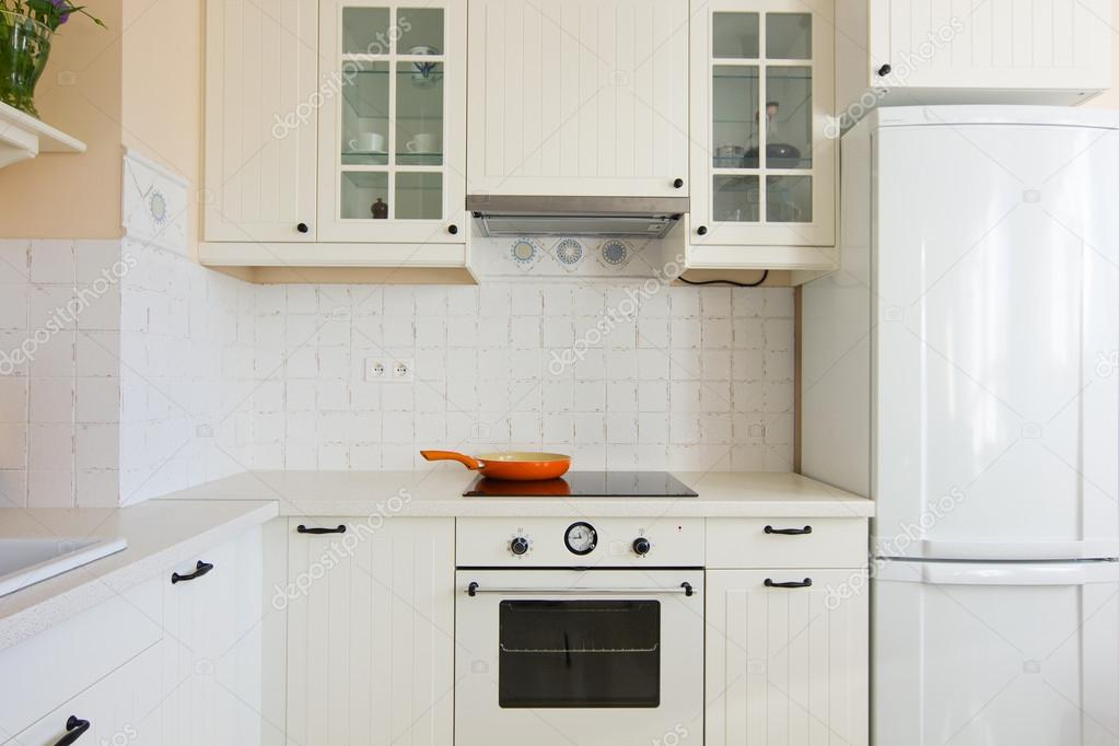 Details of white modern kitchen in antique rustique style — Stock Photo #17008863