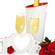 Love sign and  champagne wine — Stock Photo