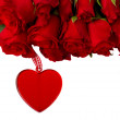 Red roses in basket for valentines day — Stockfoto #18474291