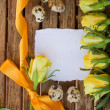 Invitation card with yellow roses and eggs — Stock Photo