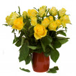 Bouquet of yellow roses in pot — Stock Photo #18963129