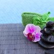 Spa settings by blue pool - Stock Photo
