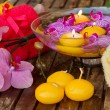Spa setting with candles - Stock Photo