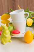 Easter breakfast with macaroons — Stock Photo