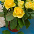 Bouquet of yellow roses close up — Stok fotoğraf