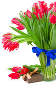 Red tulips with present box — Stock Photo