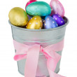Easter eggs in pot — Stock Photo