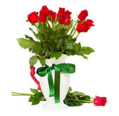 Bunch of red roses in vase — Stock Photo