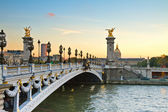 Bridge of Alexandre III at sunset — Stock Photo